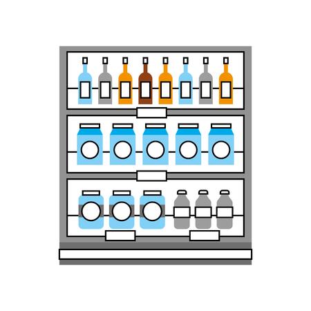 Supermarché épicerie et magasin boissons bouteilles et boîtes illustration vectorielle Banque d'images - 85494477