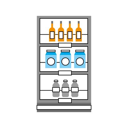Supermarché épicerie et magasin boissons bouteilles et boîtes illustration vectorielle Banque d'images - 85494479