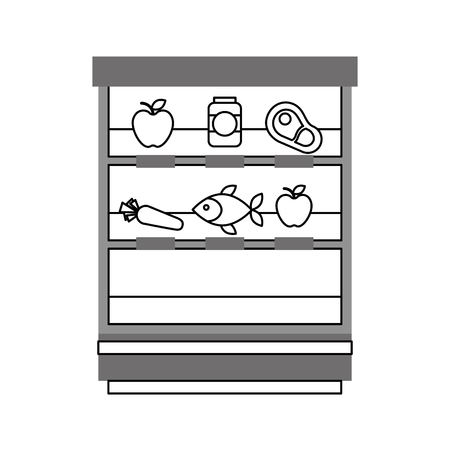 supermarket shop showcase fruits vegetable fridge shopping vector illustration  イラスト・ベクター素材