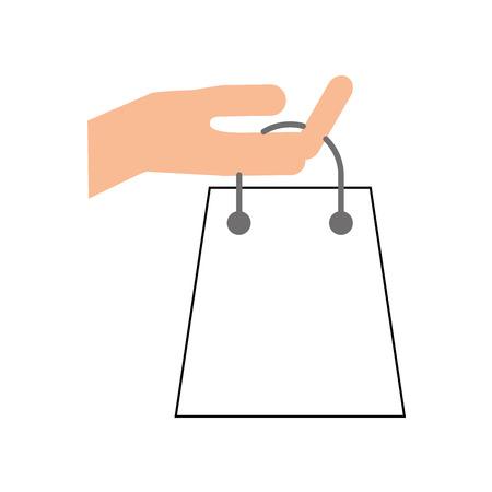 Main tenant le sac en papier cadeau Banque d'images - 85494497