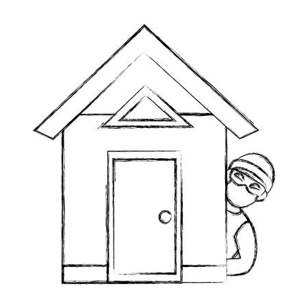 집에서 위험한 도둑 아바타 캐릭터 벡터 일러스트 레이션 디자인 일러스트