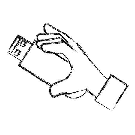 Mano humana con memoria usb aislado icono vector ilustración diseño Foto de archivo - 85484182