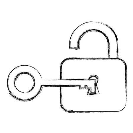 private security: safe padlock with key vector illustration design