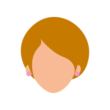 woman face character earring and hairstyle vector illustration Ilustracja