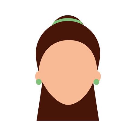 女性の顔のキャラクターイヤリングとヘアスタイルベクトルイラスト