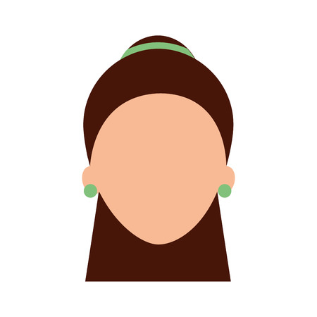 woman face character earring and hairstyle vector illustration Illustration