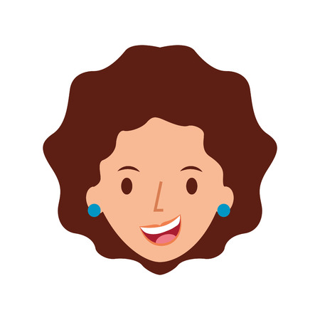 woman face smiling character with earrings vector illustration