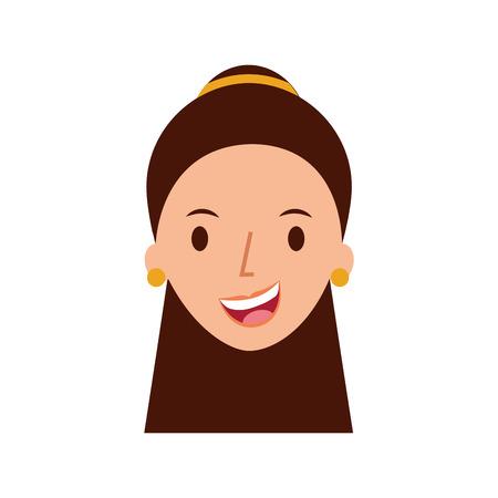 Carattere della donna sorridente carattere con orecchini illustrazione vettoriale Archivio Fotografico - 85481647