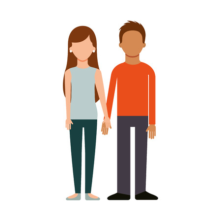 young couple with hands holding together adorable vector illustration