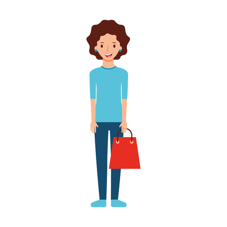 happy young woman with paper bag gift shopping vector illustration  イラスト・ベクター素材