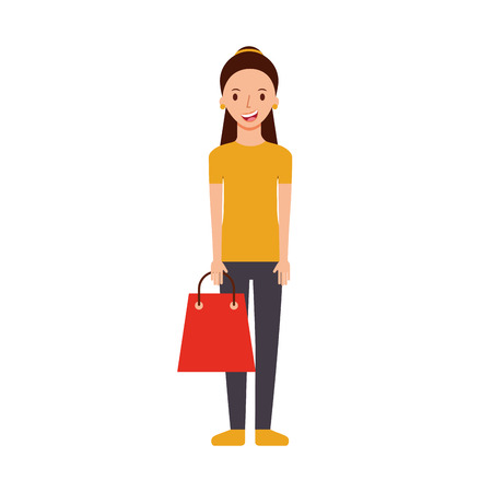 happy young woman with paper bag gift shopping vector illustration Illustration