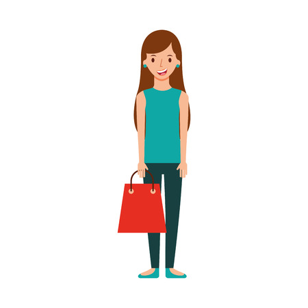 happy young woman with paper bag gift shopping vector illustration Çizim