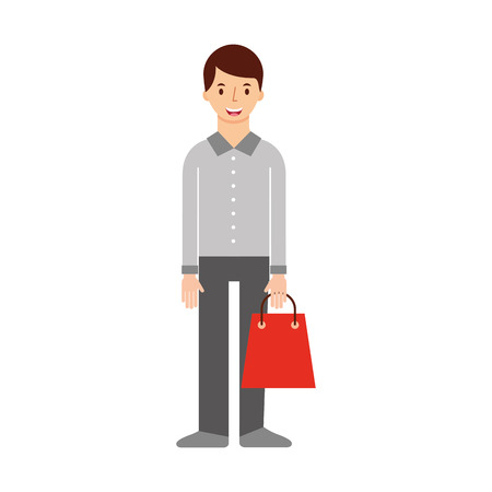 young man holding paper bag shopping vector illustration