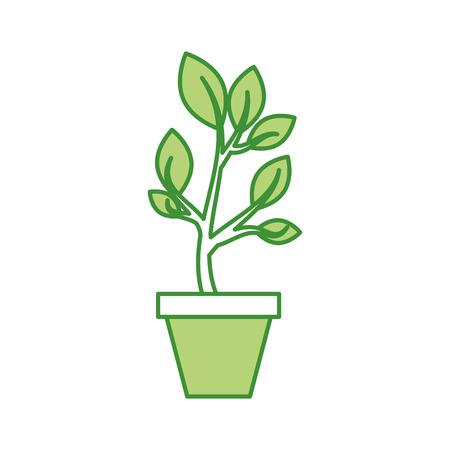 セラミックポットのコンセプトベクトルイラストから立ち上がる木緑の芽を育てる
