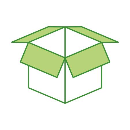 open kartonnen doos veiligheidsconcept pictogram vectorillustratie Stock Illustratie