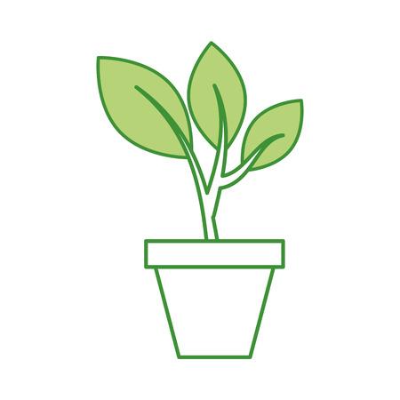 Crescere albero verde germogli che cade dalla colonna di ceramica illustrazione vettoriale Archivio Fotografico - 85481695