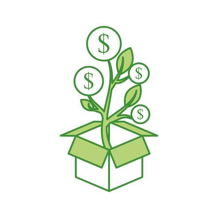 plant growing from coins in a box business make money