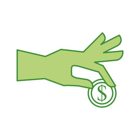 비즈니스 손 들고 동전 달러 돈 현금 금융 벡터 일러스트 레이션