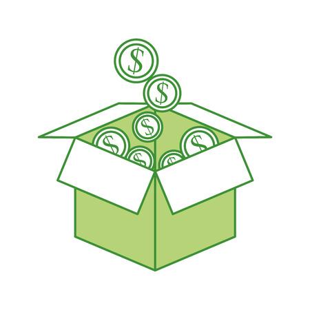violet red: cardboard box with golden coin falling save bank concept vector illustration Illustration
