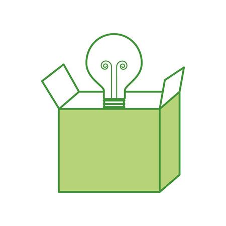 cardboard box with bulb light idea business vector illustration