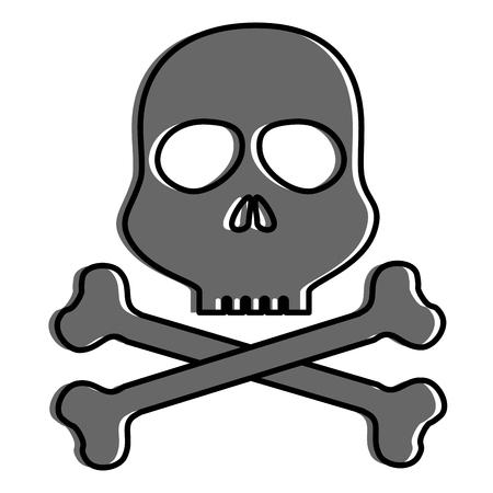 頭蓋骨警告シンボル アイコン ベクトル イラスト デザイン