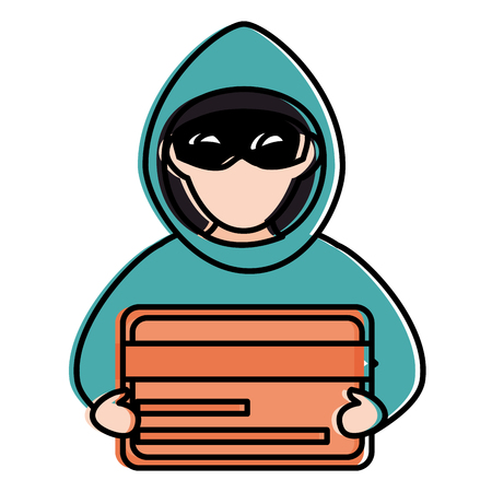 cyber thief avatar character with credit card vector illustration design