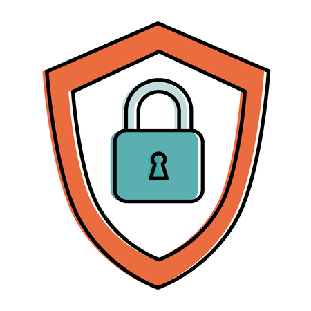 private security: shield with safe padlock isolated icon vector illustration design Illustration