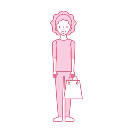 紙袋ギフトショッピングベクターイラストで幸せな若い女性