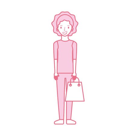행복 한 젊은 여자 종이 가방 선물 쇼핑 벡터 일러스트와 함께
