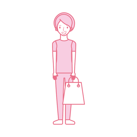 happy young woman with paper bag gift shopping vector illustration Ilustração