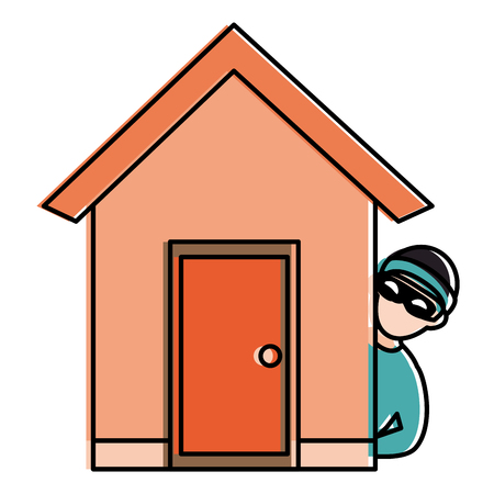 thief dangerous in the house avatar character vector illustration design