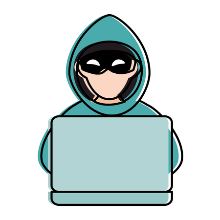 cyber thief avatar character with laptop vector illustration design