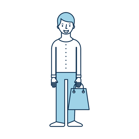young man holding paper bag shopping vector illustration Stock Vector - 85481588