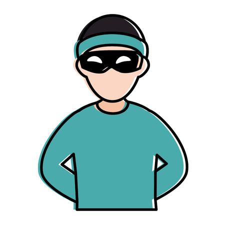 thief dangerous avatar character vector illustration design