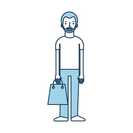 若い男の紙袋を保持ショッピングベクターイラスト