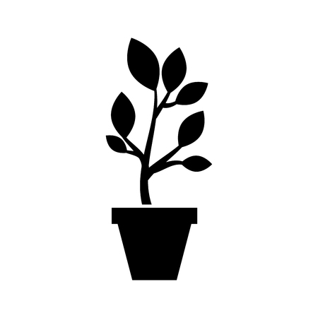 growing tree sprouts rising from ceramic pot concept vector illustration Stock fotó - 85482076