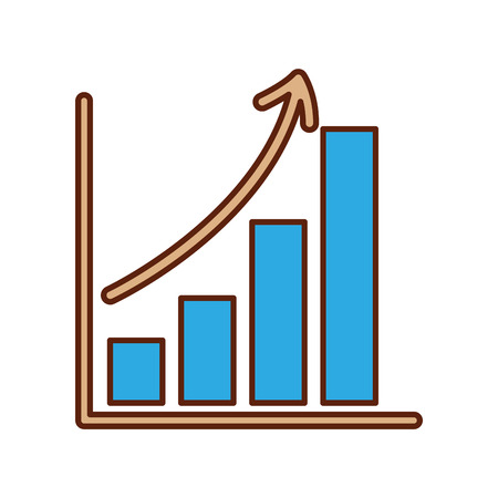 business growth bar graph finance increase vector illustration