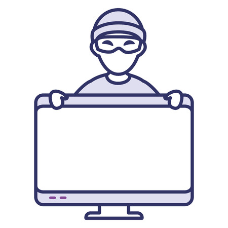 cyber thief avatar character with monitor vector illustration design