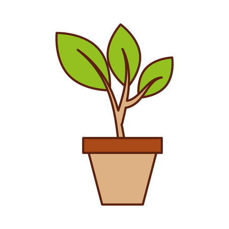 growing tree green sprouts rising from ceramic pot concept vector illustration 版權商用圖片 - 85482195