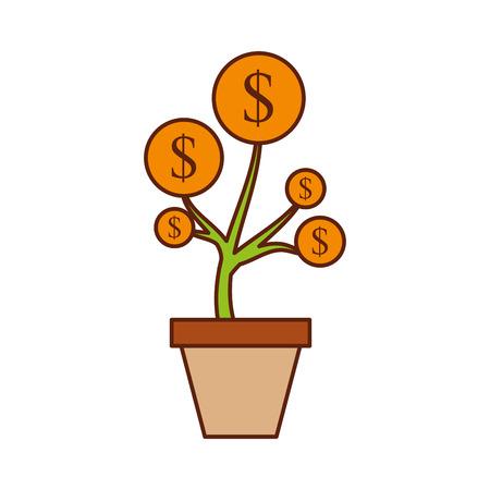dollar golden coin plant inside pot finance vector illustration Illusztráció