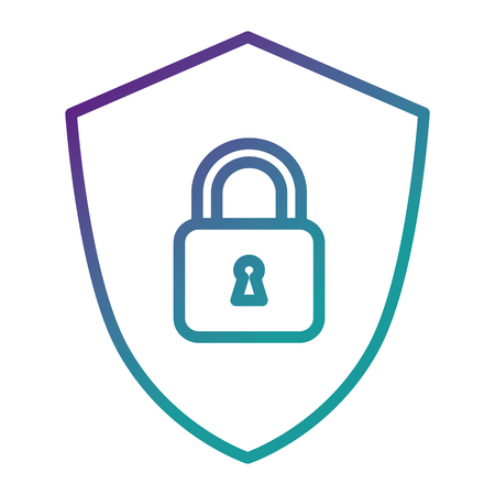 shield with safe padlock isolated icon vector illustration design Illustration