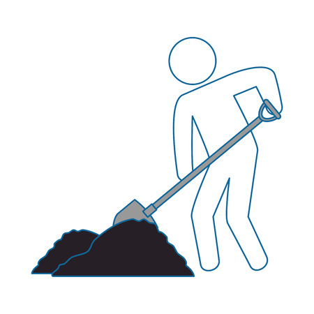 worker with shovel silhouette vector illustration design Reklamní fotografie - 85482473