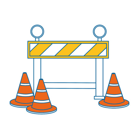 construction fence with cones vector illustration design Illustration