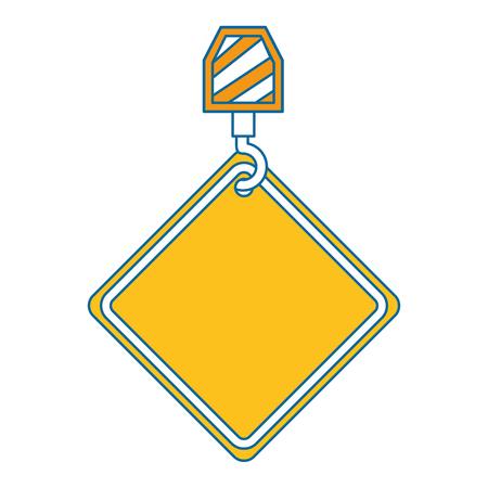 traffic signal hanging in hook crane vector illustration design Illustration