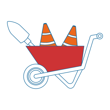 wheelbarrow construction with cones and shovel vector illustration design Illustration