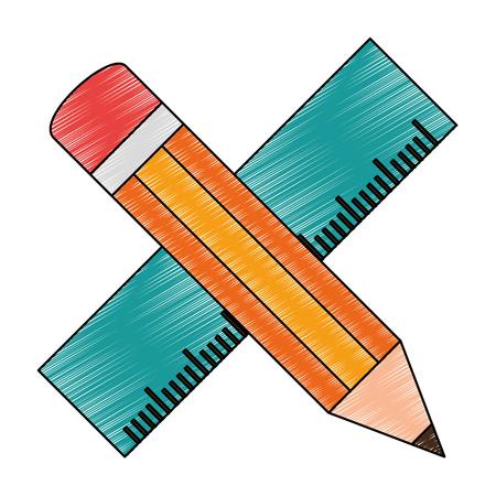 mathematics: pencil school with rule vector illustration design Illustration