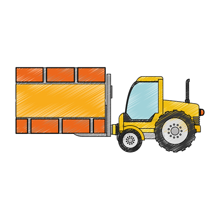 delivery service: forklift vehicle with board construction vector illustration design