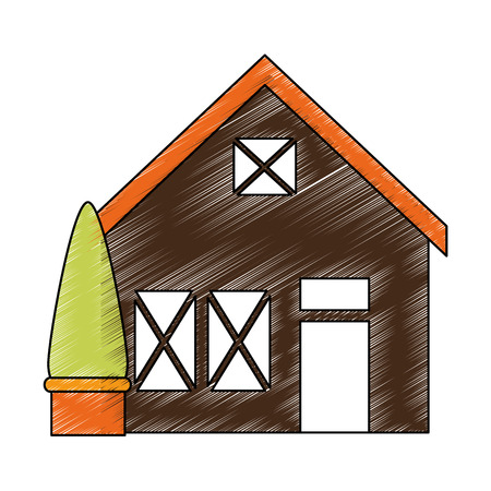 wooden house structure with tree vector illustration design