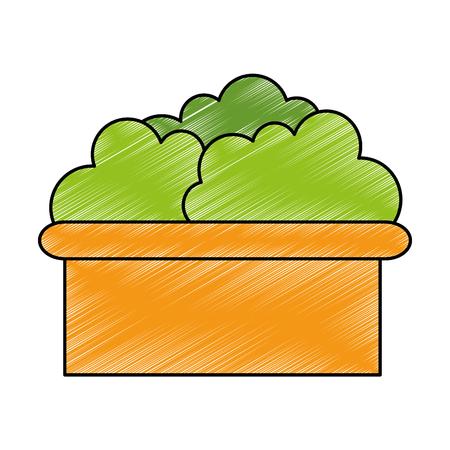 jardín del arbusto en diseño del ejemplo del vector del pote Ilustración de vector