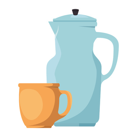 teapot kitchen with cup vector illustration design